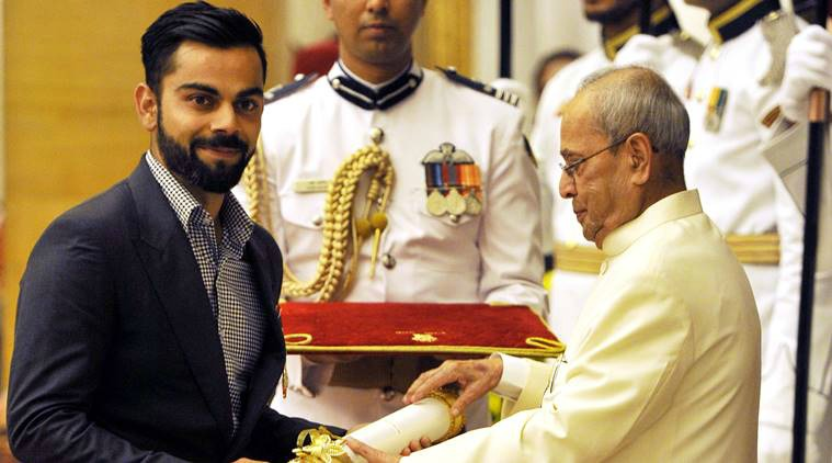 Kohli receiving Padma Shri Award